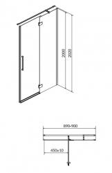 Sprchové dvere s pántami CREA 90x200, pravé, číre sklo (S159-006), fotografie 12/6