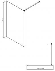 CERSANIT - Sprchová zástena WALK-IN MILLE BLACK 100x200, číre sklo + ŽĽAB vrátane ROŠTE (S161-003-SET01), fotografie 8/6
