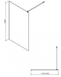 CERSANIT - Sprchová zástena WALK-IN MILLE BLACK 120x200, číre sklo + ŽĽAB vrátane ROŠTE (S161-004-SET01), fotografie 8/6