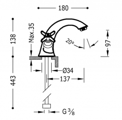 TRES - Dvoupáková umyvadlová baterie (24210201), fotografie 2/1