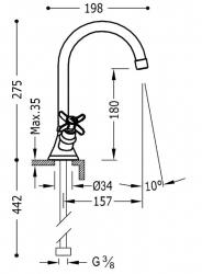 TRES - Dvoupáková umyvadlová baterie (24210901AC), fotografie 2/1