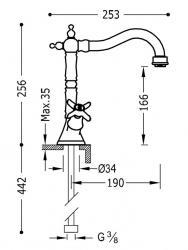 TRES - Dvoupáková umyvadlová baterie (24210902OR), fotografie 2/1