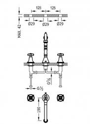 TRES - Dvoupáková umyvadlová baterieMožnost samostatné instalace. (24210501OR), fotografie 2/1