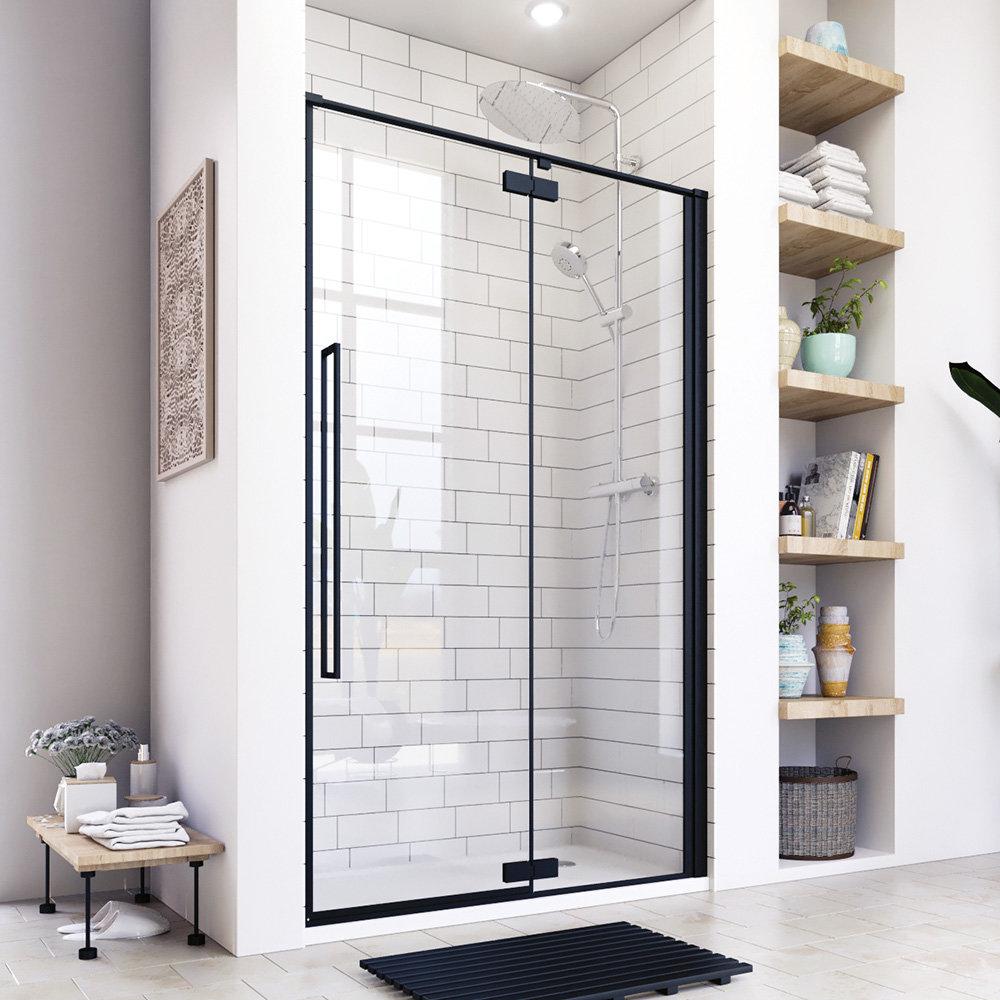 Aquatek - JAGUAR B5 110 jednokřídlé sprchové dveře, černá matná, čiré sklo 8mm, 107,5-111x200 cm (JAGUARB5110)