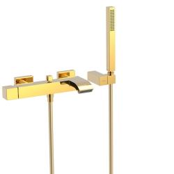 TRES - Jednopáková baterie pro vanu-sprchus kaskádou. Ruční sprcha snastavitelným držákem, proti usaz. vod. kamene. Flexi had (0071700203OR)
