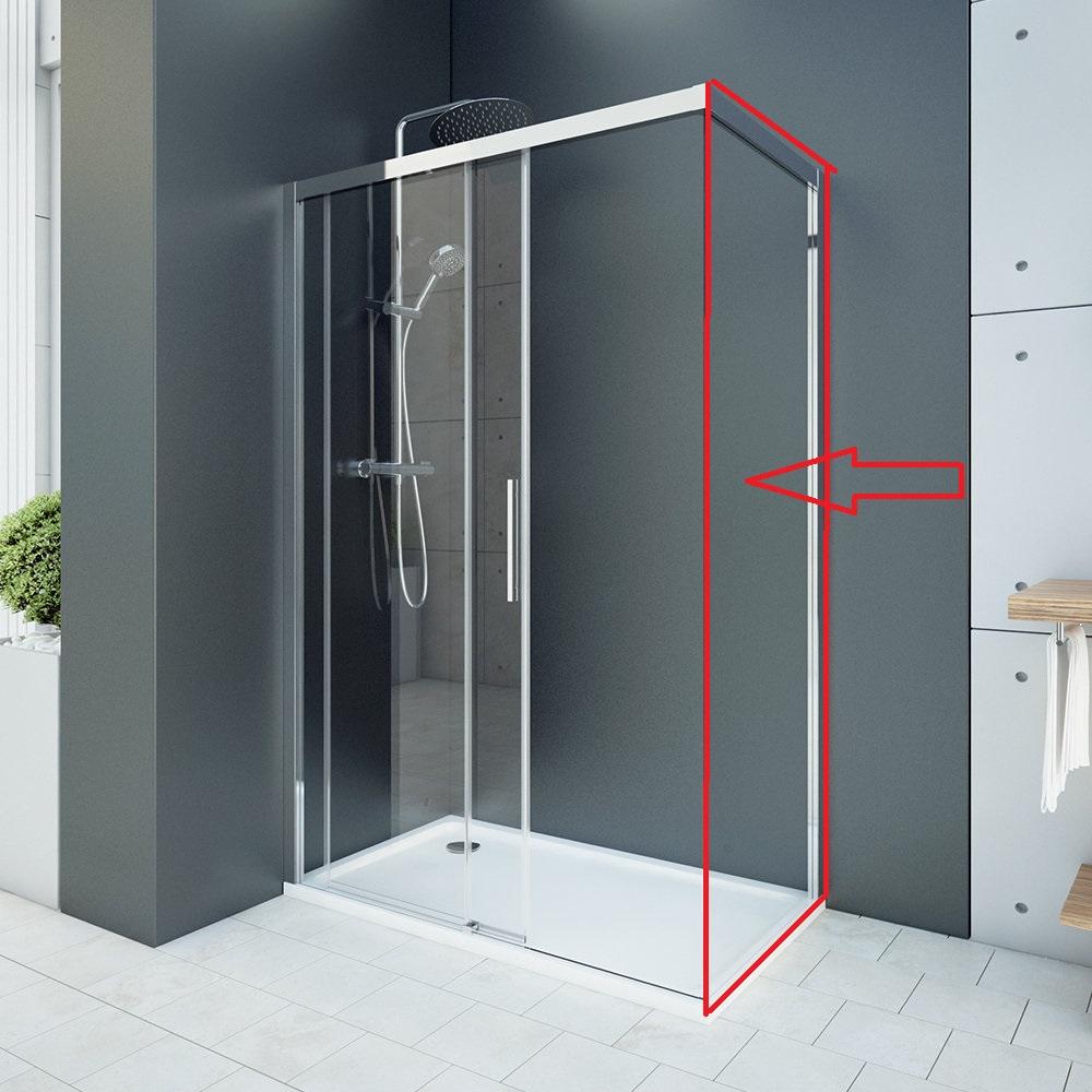 Aquatek - WELLNESS F1 90- pevná boční stěna do kombinace s dveřmi, 87-89cm, sklo 6mm (WELLNESSF190)