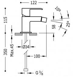 TRES - Jednopáková bidetová baterie (00612001AC), fotografie 2/1