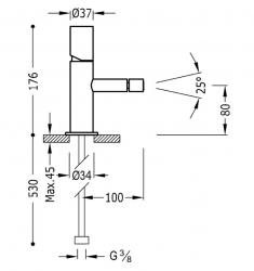 TRES - Jednopáková bidetová baterie (06112001TVI), fotografie 2/1
