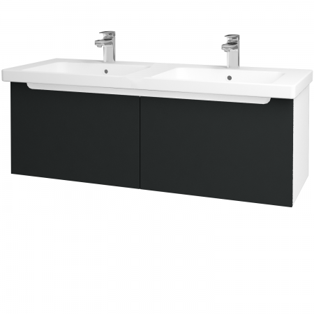 Dreja - Kúpeľňová skriňa COLOR SZZ2 125 - N01 Bílá lesk / L03 Antracit vysoký lesk (67758)