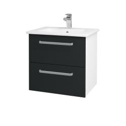 Dreja - Kúpeľňová skriňa GIO SZZ2 60 - N01 Bílá lesk / Úchytka T01 / L03 Antracit vysoký lesk (82850A)