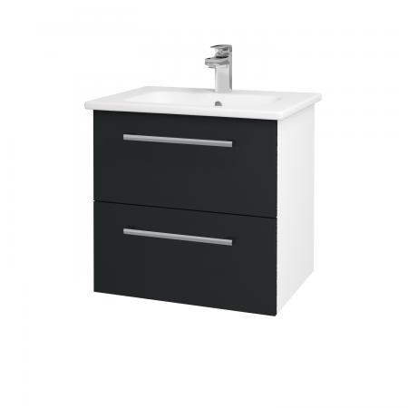 Dreja - Kúpeľňová skriňa GIO SZZ2 60 - N01 Bílá lesk / Úchytka T03 / L03 Antracit vysoký lesk (82850C)