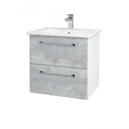 Dreja - Kúpeľňová skriňa GIO SZZ2 60 - N01 Bílá lesk / Úchytka T03 / D01 Beton (82829C)