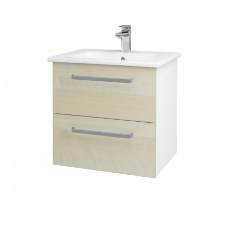 Dreja - Kúpeľňová skriňa GIO SZZ2 60 - N01 Bílá lesk / Úchytka T01 / D02 Bříza (82805A)