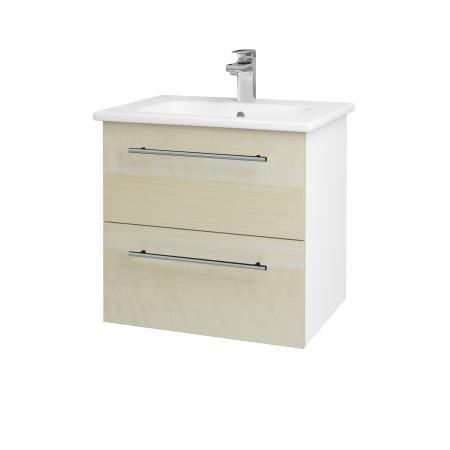 Dreja - Kúpeľňová skriňa GIO SZZ2 60 - N01 Bílá lesk / Úchytka T02 / D02 Bříza (82805B)