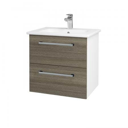 Dreja - Kúpeľňová skriňa GIO SZZ2 60 - N01 Bílá lesk / Úchytka T03 / D03 Cafe (82782C)