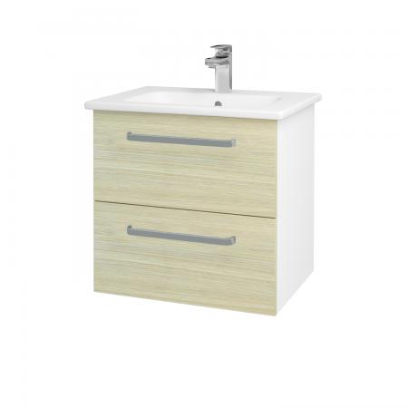 Dreja - Kúpeľňová skriňa GIO SZZ2 60 - N01 Bílá lesk / Úchytka T01 / D04 Dub (82775A)