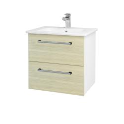Dreja - Kúpeľňová skriňa GIO SZZ2 60 - N01 Bílá lesk / Úchytka T03 / D04 Dub (82775C)