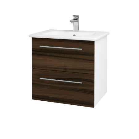 Dreja - Kúpeľňová skriňa GIO SZZ2 60 - N01 Bílá lesk / Úchytka T02 / D06 Ořech (82768B)
