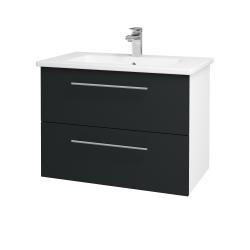 Dreja - Kúpeľňová skriňa GIO SZZ2 80 - N01 Bílá lesk / Úchytka T02 / L03 Antracit vysoký lesk (82010B)