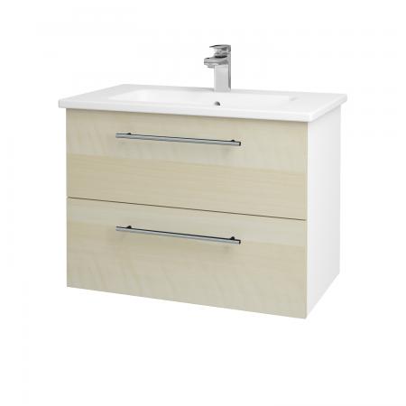 Dreja - Kúpeľňová skriňa GIO SZZ2 80 - N01 Bílá lesk / Úchytka T02 / D02 Bříza (81969B)
