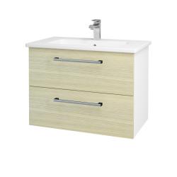 Dreja - Kúpeľňová skriňa GIO SZZ2 80 - N01 Bílá lesk / Úchytka T03 / D04 Dub (81938C)