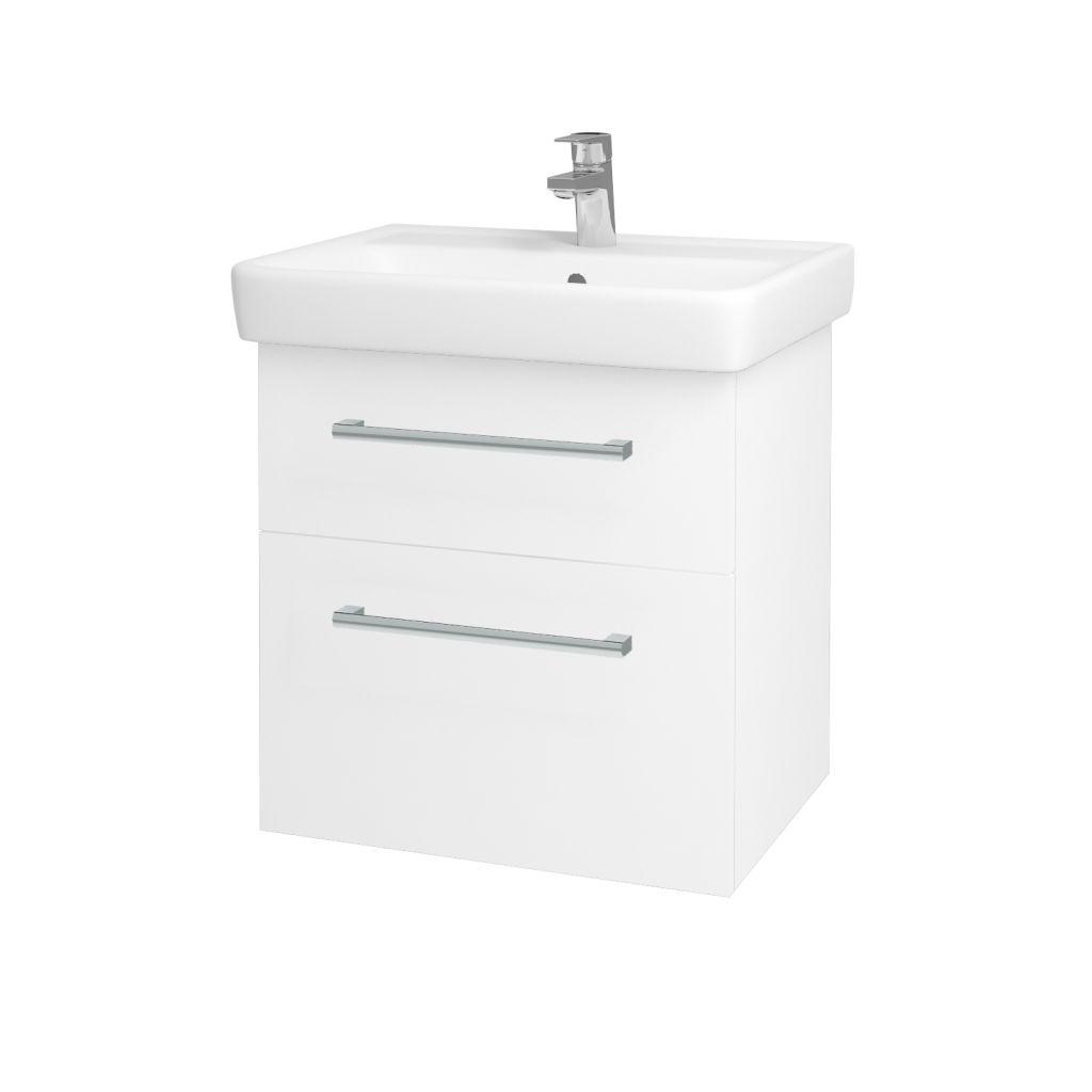 Dreja - Kúpeľňová skriňa Q MAX SZZ2 60 - N01 Bílá lesk / Úchytka T03 / L01 Bílá vysoký lesk 60117C