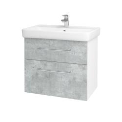 Dreja - Kúpeľňová skriňa Q MAX SZZ2 70 - N01 Bílá lesk / Úchytka T03 / D01 Beton (67499C)