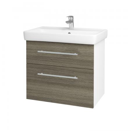 Dreja - Kúpeľňová skriňa Q MAX SZZ2 70 - N01 Bílá lesk / Úchytka T02 / D03 Cafe (68410B)