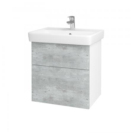 Dreja - Kúpeľňová skriňa Q MAX SZZ2 60 - N01 Bílá lesk / Úchytka T02 / D01 Beton (67482B)