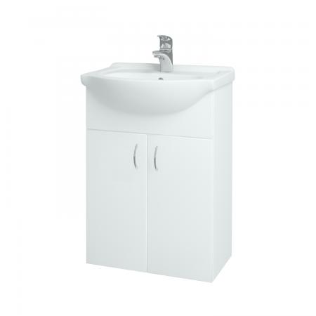 Dreja - Kúpeľňová skriňa PLUTO SZD2 55 - N01 Bílá lesk / N01 Bílá lesk (52327)