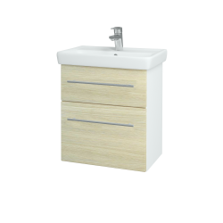 Dreja - Kúpeľňová skriňa GO SZZ2 55 - N01 Bílá lesk / Úchytka T02 / D04 Dub (27950B)