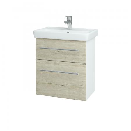 Dreja - Kúpeľňová skriňa GO SZZ2 55 - N01 Bílá lesk / Úchytka T02 / D05 Oregon (27981B)