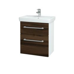 Dreja - Kúpeľňová skriňa GO SZZ2 55 - N01 Bílá lesk / Úchytka T03 / D06 Ořech (20715C)