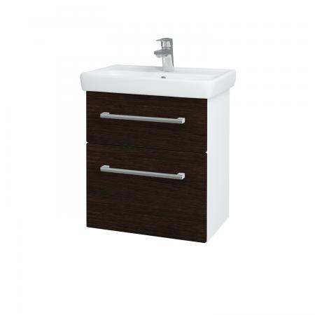 Dreja - Kúpeľňová skriňa GO SZZ2 55 - N01 Bílá lesk / Úchytka T03 / D08 Wenge (28049C)