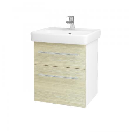 Dreja - Kúpeľňová skriňa Q MAX SZZ2 55 - N01 Bílá lesk / Úchytka T02 / D04 Dub (61220B)