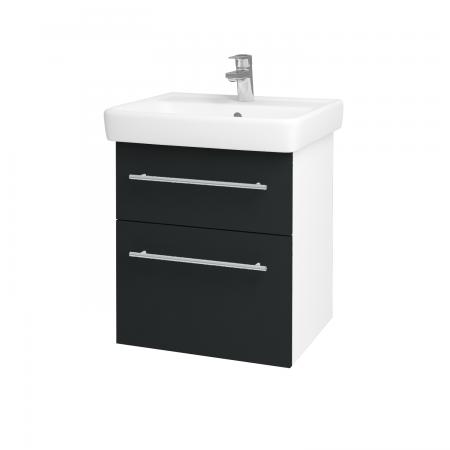 Dreja - Kúpeľňová skriňa Q MAX SZZ2 55 - N01 Bílá lesk / Úchytka T02 / L03 Antracit vysoký lesk (61244B)