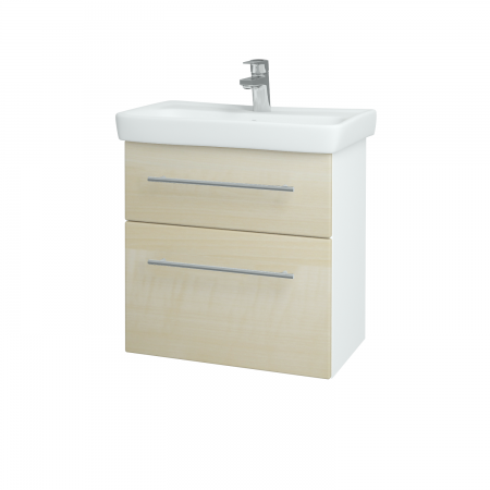 Dreja - Kúpeľňová skriňa GO SZZ2 60 - N01 Bílá lesk / Úchytka T02 / D02 Bříza (28025B)