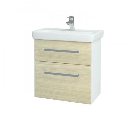 Dreja - Kúpeľňová skriňa GO SZZ2 60 - N01 Bílá lesk / Úchytka T01 / D04 Dub (27967A)