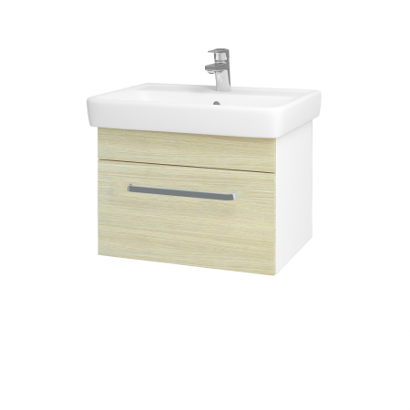 Dreja - Kúpeľňová skriňa Q UNO SZZ 60 - N01 Bílá lesk / Úchytka T01 / D04 Dub (20043A)