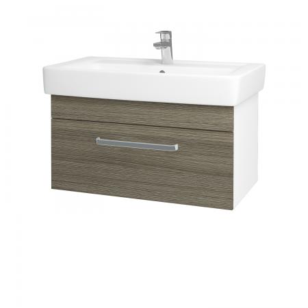 Dreja - Kúpeľňová skriňa Q UNO SZZ 80 - N01 Bílá lesk / Úchytka T01 / D03 Cafe (21064A)