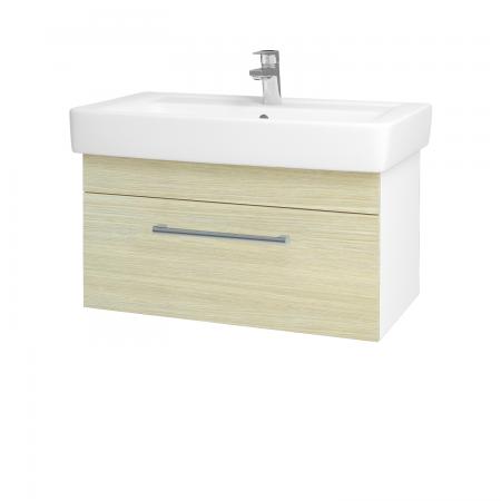 Dreja - Kúpeľňová skriňa Q UNO SZZ 80 - N01 Bílá lesk / Úchytka T03 / D04 Dub (20104C)