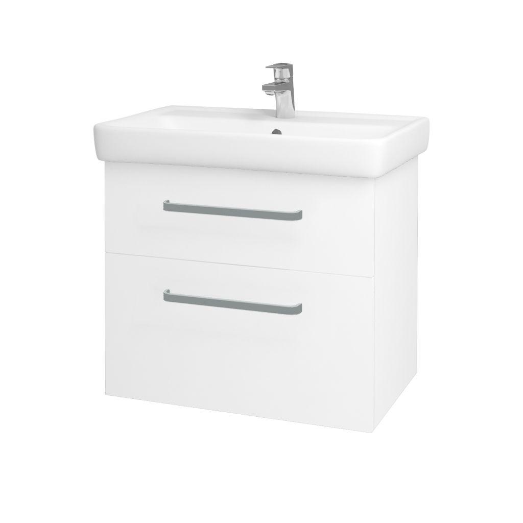 Dreja - Kúpeľňová skriňa Q MAX SZZ2 70 - N01 Bílá lesk / Úchytka T01 / L01 Bílá vysoký lesk 60155A