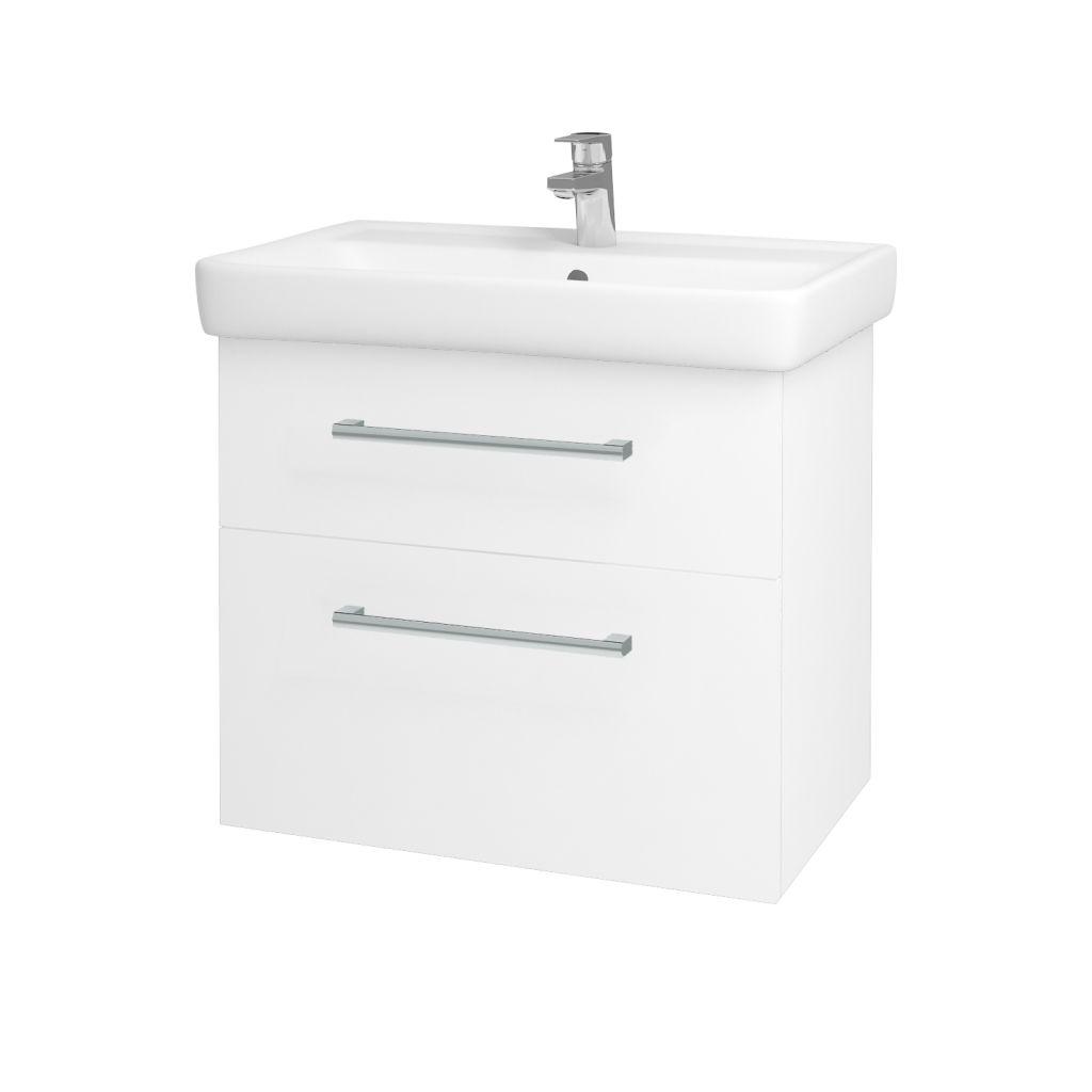 Dreja - Kúpeľňová skriňa Q MAX SZZ2 70 - N01 Bílá lesk / Úchytka T03 / L01 Bílá vysoký lesk 60155C