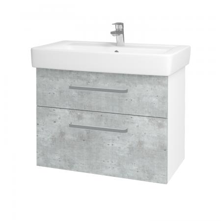 Dreja - Kúpeľňová skriňa Q MAX SZZ2 80 - N01 Bílá lesk / Úchytka T01 / D01 Beton (67505A)