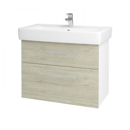 Dreja - Kúpeľňová skriňa Q MAX SZZ2 80 - N01 Bílá lesk / Úchytka T02 / D05 Oregon (61749B)