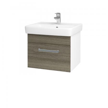 Dreja - Kúpeľňová skriňa Q UNO SZZ 55 - N01 Bílá lesk / Úchytka T01 / D03 Cafe (20272A)