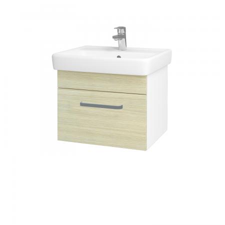 Dreja - Kúpeľňová skriňa Q UNO SZZ 55 - N01 Bílá lesk / Úchytka T01 / D04 Dub (20265A)