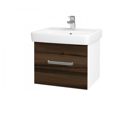 Dreja - Kúpeľňová skriňa Q UNO SZZ 55 - N01 Bílá lesk / Úchytka T01 / D06 Ořech (20258A)
