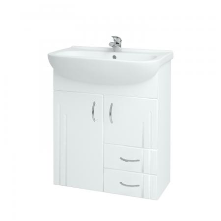 Kúpeľňová skriňa DREJA SZD2Z2 65 - N01 Bílá lesk / L01 Bílá vysoký lesk (12284)