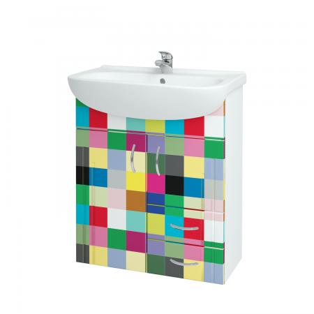 Kúpeľňová skriňa DREJA SZD2Z2 65 - N01 Bílá lesk / IND Individual (50743)